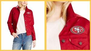 NWT Women's San Francisco 49ers Red Denim Jean Jacket Coat - Extra Small