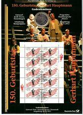 10 € Sammlermünze 2012 + Briefmarken, Gerhart Hauptmann 150. Geburtstag