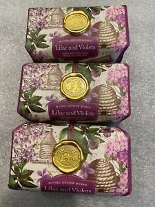 Set of 3 Michel Design Works Bath Bar Large Soap Lilac Violets Made Shea Butter