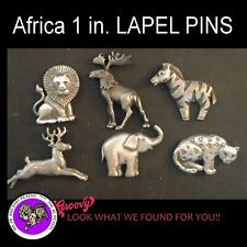 "Cheetah Elephant Elk Moose' 6 Pins ""Jj"" Jonette Jewelry Pewter 'Lion Zebra"