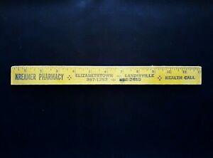 Vintage Advertising Wooden Ruler Kreamer Pharmacy Elizabethtown Landisville PA