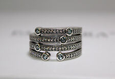 AUTHENTIC NEW PANDORA 191002czf SHIMMERING OCEAN RING 56/7.5 US W/LEATHER BOX