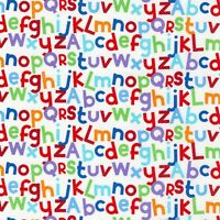 Nursery Baby Fabric - Letters of Alphabet White - Timeless Treasures YARD