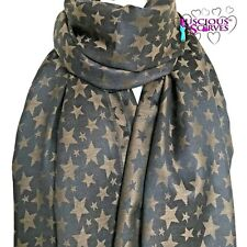 STAR PASHMINA LADIES SCARF BROWN & BLACK VERY SOFT ,STYLISH WRAP SHAWL