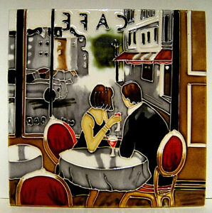 free standing / wall mounted, ceramic tile, French Cafe scene