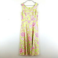 Coldwater Creek Womens Size 10 Dress Green Pink Floral Sleeveless