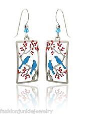 Blue Bird Earrings - 925 Sterling Silver Ear Wires - Two Birds Cherry Tree NEW