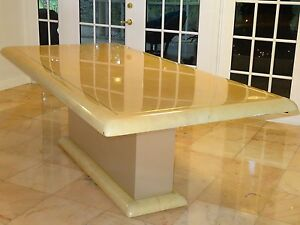 STEVE CHASE ATTRIB LACQUERED GOATSKIN & STEEL INLAY & PLATFORM CLAD DINING TABLE