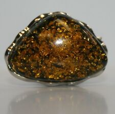 Silver Tone Adjustable Ring Size 7 Black Yellow Flake Cocktail Ring Costume