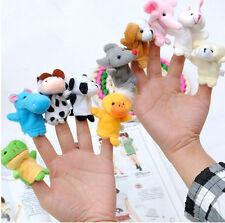 10Pcs Animal Finger Puppet Soft Plush Baby Educational Hand Cartoon Toys 、Pop