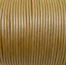 Imported India Leather Cord 2mm Round 5 Yards Metallic Light Gold