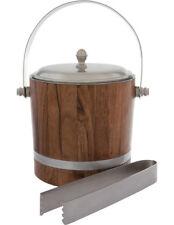 NEW Heritage Matt Silver & Wood Ice Bucket with Tong