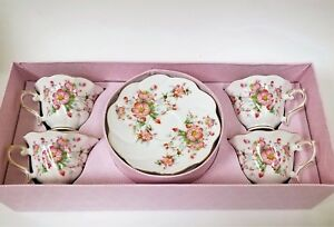 NEW GRACE'S TEAWARE 8 PC SET WHITE+PINK FLORAL GOLD ACCENT 4 TEACUP+4 SAUCER+BOX