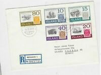 iceland registered multi-stamp stamp cover  Ref 10042