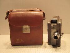 Briskin 8mm Hand Movie Camera 13mm F/1.9 Wollensak Lens w Leather Cowhide Case