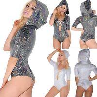 Women Hooded Bodysuit Bandage Jumpsuit Shiny Disco Carnival Cocktail Clubwear