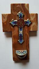 Crucifix Bénitier de Chevet Email Emaux Cloisonnés sur Croix en Onyx, circa XIXe
