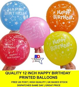 QUALITY 12 Inch Happy Birthday Printed Mix Colour Balloons Helium or Air