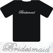 'Bridesmaid' Crystal Rhinestone Wedding iron on hot fix sticker-clear colour