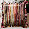 "16"" Multi Chindi Rag Rug Decorative Sofa Throw Pillow Cushion Cover Indian Boho"
