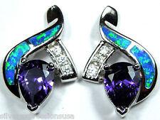 Amethyst & Blue Fire Opal Inlay Solid 925 Sterling Silver Post, Post Earrings