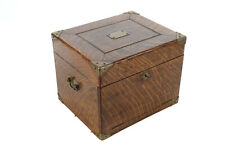 Beautiful Antique Oak Box with brass corner Hardware