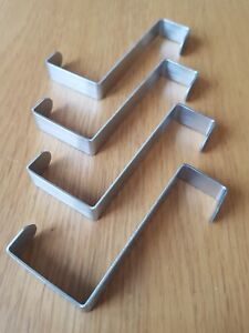 STAINLESS STEEL REVERSIBLE OVER DOOR HOOKS HANGERS FOR THICK/THIN DOORS SET OF 4