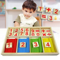 Baby Kids Montessori Wooden Math Number Sticks Puzzle Early Educational Toy  ~