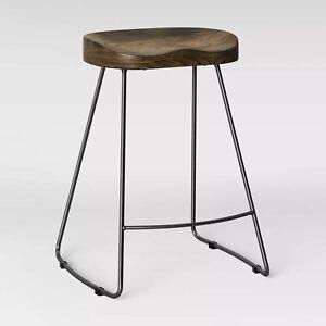 Hull Low Back Wood/Metal Counter Height Barstool - Threshold