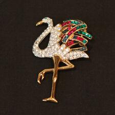 Vintage Ostrich Bird Rhinestone Gold tone Brooch Pin