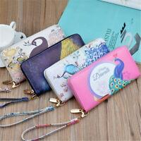 Money Bag Casual  Long Handbag Card Holder Purse Coin Wallets  Peacock Wallet