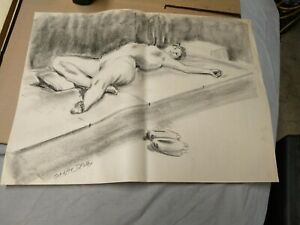 Female Nude Original Charcoal Drawing Gesture naked woman