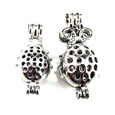 21669 2X/lot Wholesale Silver Insect Ladybug Locket Pearl Bead Cage Open Pendant