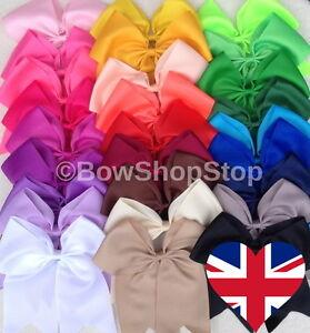 Large Double Bow Plain Cheerleader Hair Bow Bobble Elastic School Girl 🇬🇧