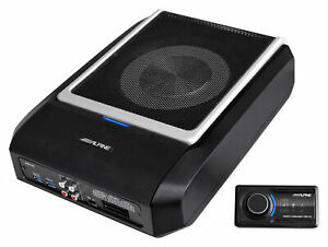 ALPINE PWD-X5 Shallow Slim Under-Seat Powered Subwoofer w/Built-In 4-Channel Amp