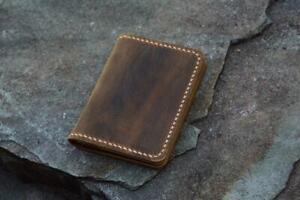 Personalized distressed leather credit card holder slim cash change wallet
