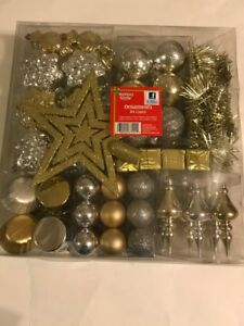 Holiday Style Christmas Gold/Silver Ornaments 84 Count Assorted Styles