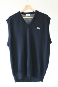 Lacoste Vintage Made in France Pure Wool Pullover Sweater tennis Vest Blue 5 M L