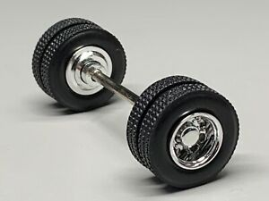 1/64 CHROME 10 HOLE  WHEEL & TIRE PAIR W/ AXLE
