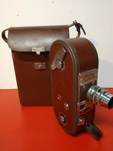 KEYSTONE CRITERION MODEL A 9 16MM MOVIE CAMERA WITH ORIG LEATHER BROWN CASE