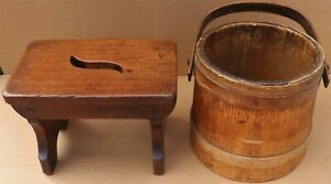 QUALITY OLD SMALL WOODEN STOOL AND A WOODEN BOUND BUCKET TO TIDY UP OR RESTORE