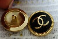 Two Stamped Chanel buttons 2 pieces   metal cc logo 0,8  inch 20 mm  black