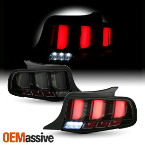 For 10-12 Ford Mustang Clear Tube LED Sequential Signal Black Smoked Tail Lights