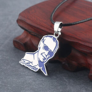 Marvel Stan Lee Black Real Leather Cord Choker Charm Chain Pendant Necklace