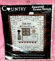 New Janlynn Country Folk Art Counted Cross Stitch Kit Hearts Swan Flower Basket