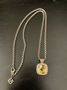 "David Yurman Silver Faceted Citrine Diamonds Albion 18"" Necklace"