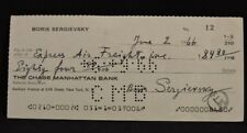BORIS SERGIEVSKY (d.1971) WWI ACE AVIATION TEST PILOT SIGNED CHECK