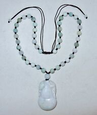 "Chinese Green & White JADEITE Jade Bead Necklace with 2"" Gourd & Chilong Pendant"