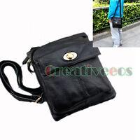 Unisex Genuine Leather Vintage TurnLock Crossbody Messenger Shoulder Casual Bag