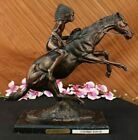 "Frederic Remington Bronze Statue Native American Indian Horse 20"" Sculpture Gift"